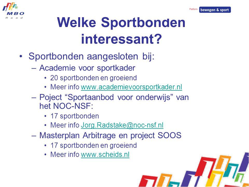 Welke Sportbonden interessant? Sportbonden aangesloten bij: –Academie voor sportkader 20 sportbonden en groeiend Meer info www.academievoorsportkader.