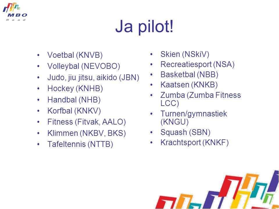 Ja pilot! Voetbal (KNVB) Volleybal (NEVOBO) Judo, jiu jitsu, aikido (JBN) Hockey (KNHB) Handbal (NHB) Korfbal (KNKV) Fitness (Fitvak, AALO) Klimmen (N