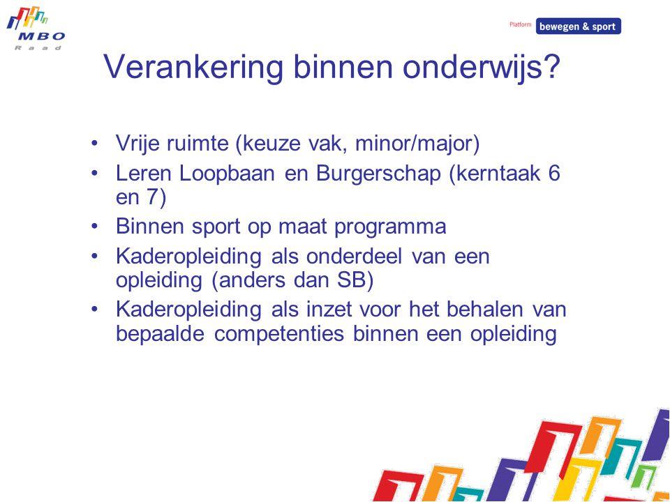 Verankering binnen onderwijs? Vrije ruimte (keuze vak, minor/major) Leren Loopbaan en Burgerschap (kerntaak 6 en 7) Binnen sport op maat programma Kad