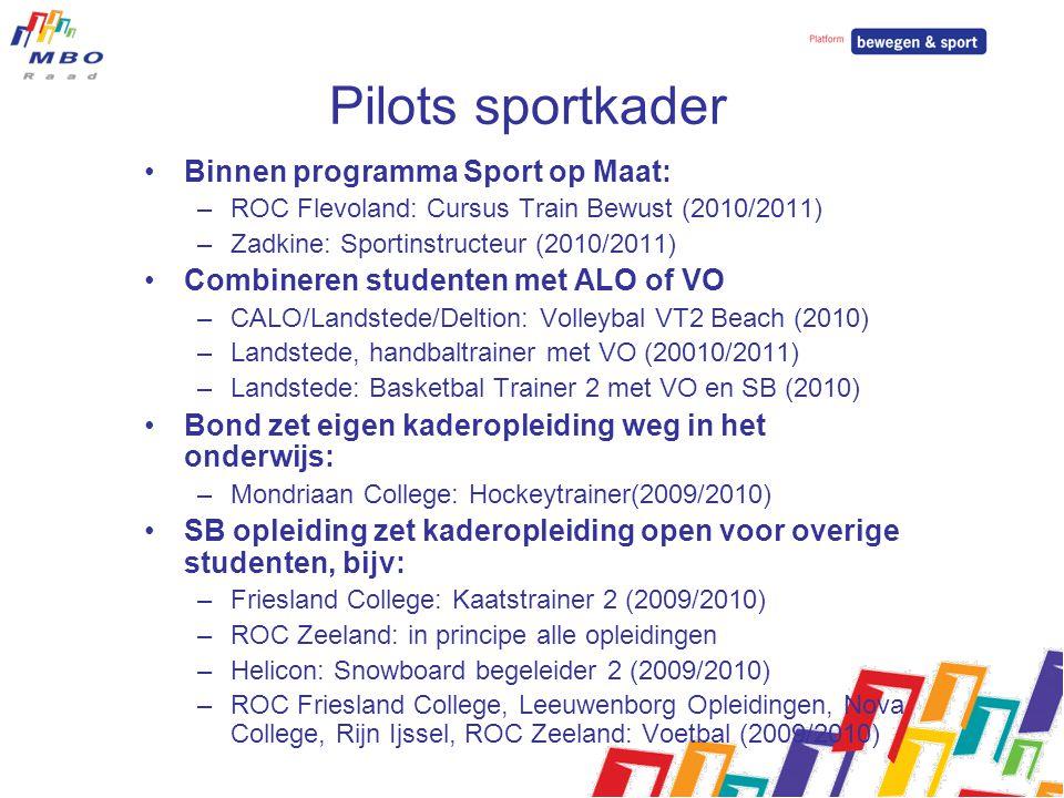 Pilots sportkader Binnen programma Sport op Maat: –ROC Flevoland: Cursus Train Bewust (2010/2011) –Zadkine: Sportinstructeur (2010/2011) Combineren st
