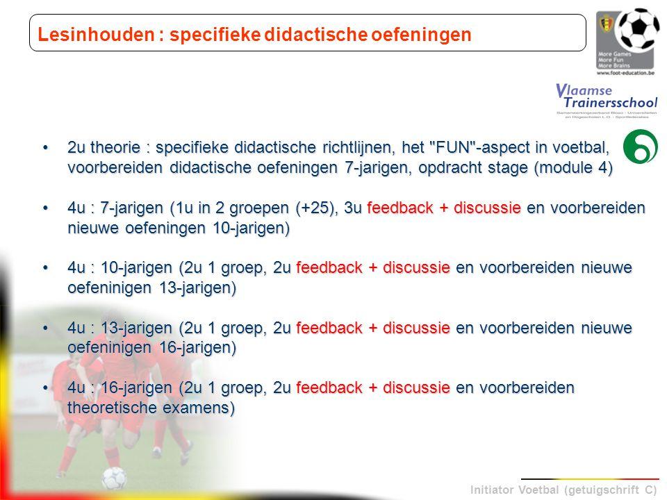 Initiator Voetbal (getuigschrift C) Lesinhouden : specifieke didactische oefeningen 2u theorie : specifieke didactische richtlijnen, het