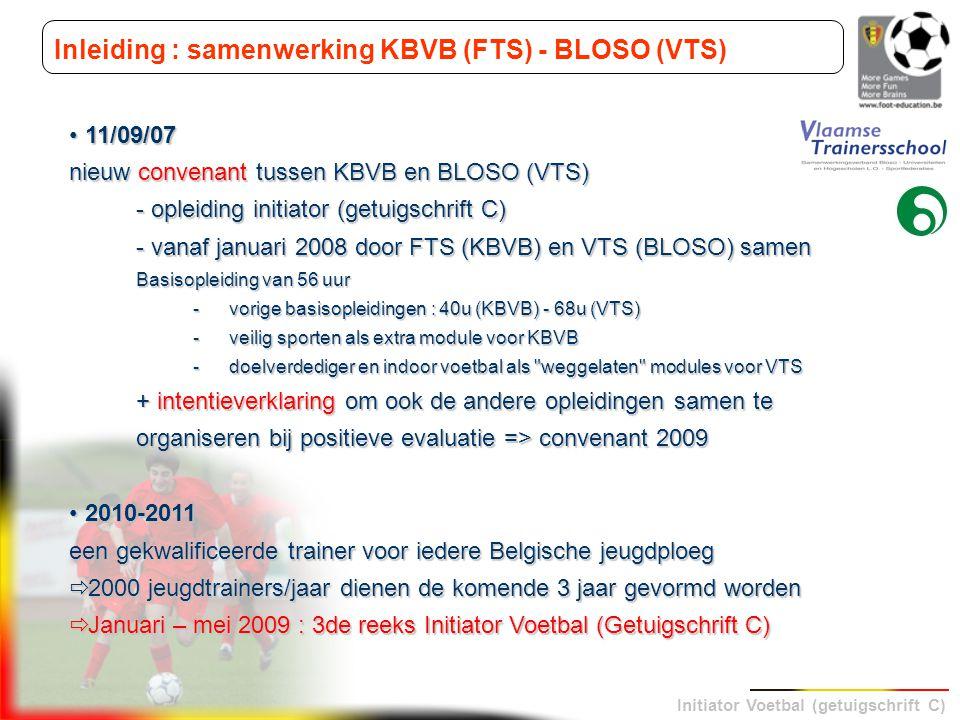 Initiator Voetbal (getuigschrift C) Inleiding : samenwerking KBVB (FTS) - BLOSO (VTS) 11/09/07 11/09/07 nieuw convenant tussen KBVB en BLOSO (VTS) - o