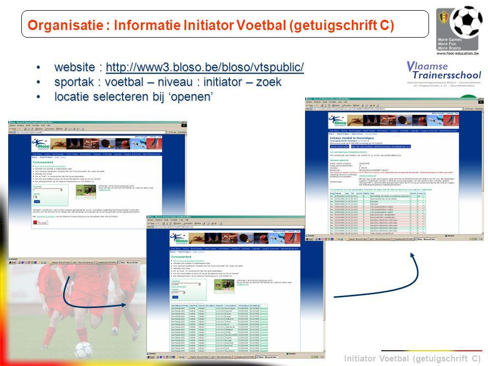 Initiator Voetbal (getuigschrift C) Organisatie : Informatie Initiator Voetbal (getuigschrift C) website : http://www3.bloso.be/bloso/vtspublic/websit