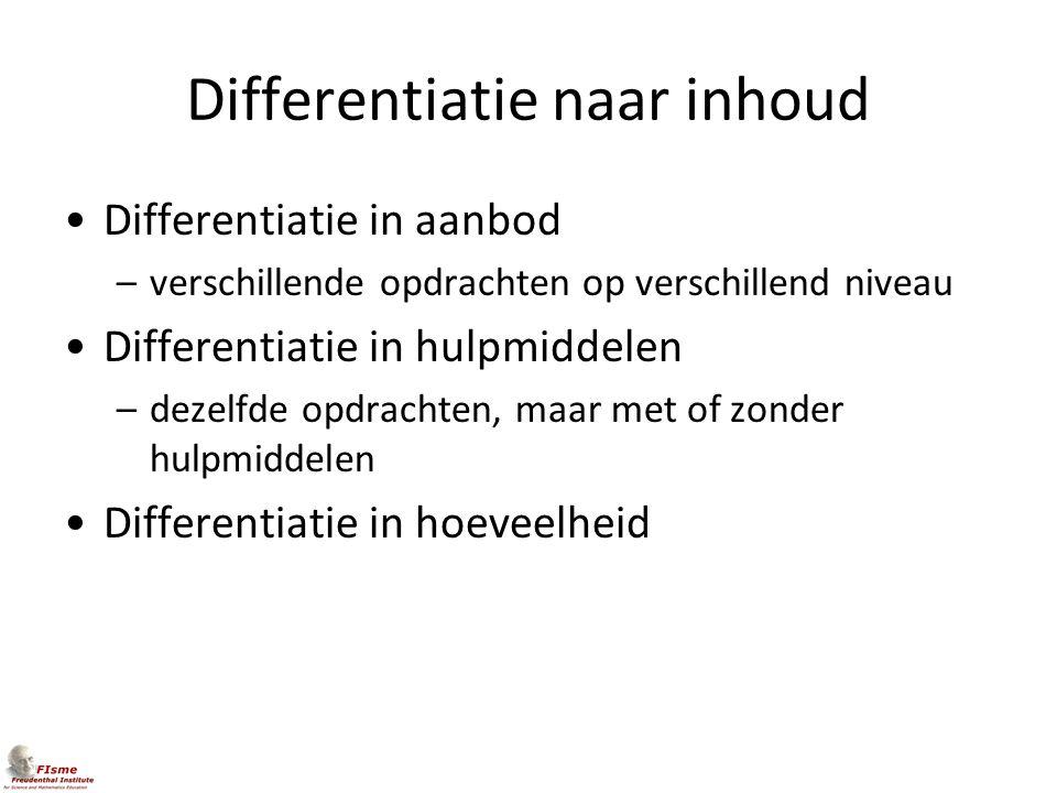 Differentiatie naar inhoud Differentiatie in aanbod –verschillende opdrachten op verschillend niveau Differentiatie in hulpmiddelen –dezelfde opdracht