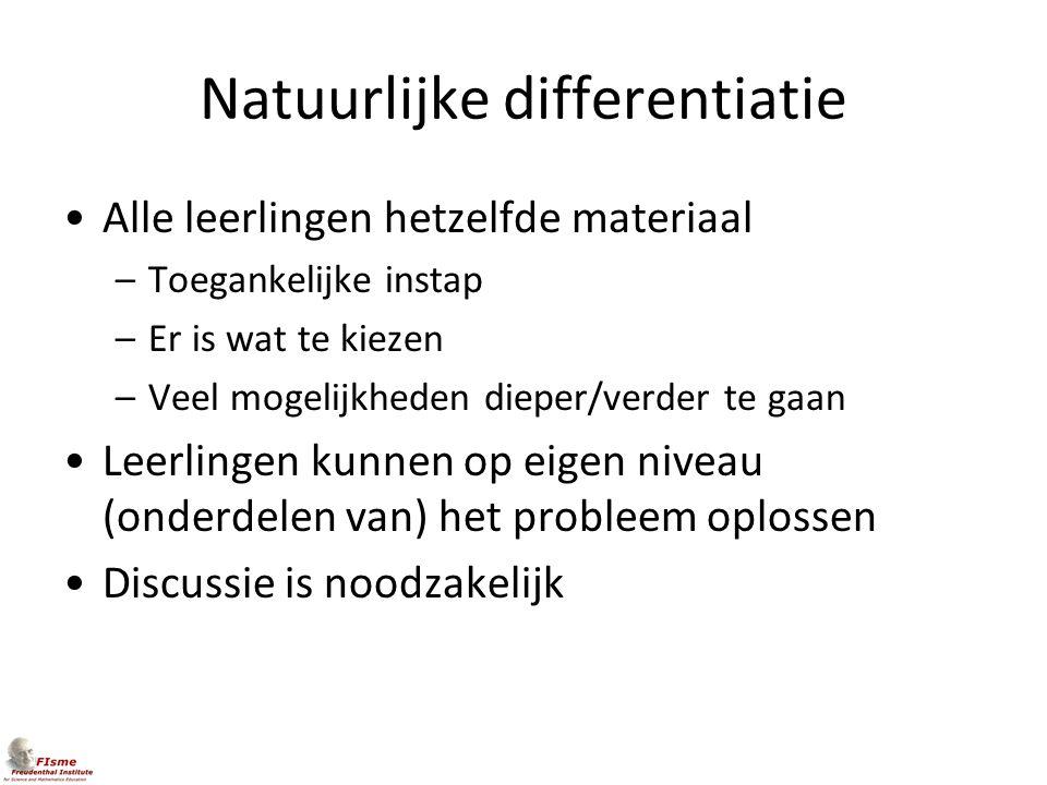 Natuurlijke differentiatie Alle leerlingen hetzelfde materiaal –Toegankelijke instap –Er is wat te kiezen –Veel mogelijkheden dieper/verder te gaan Le