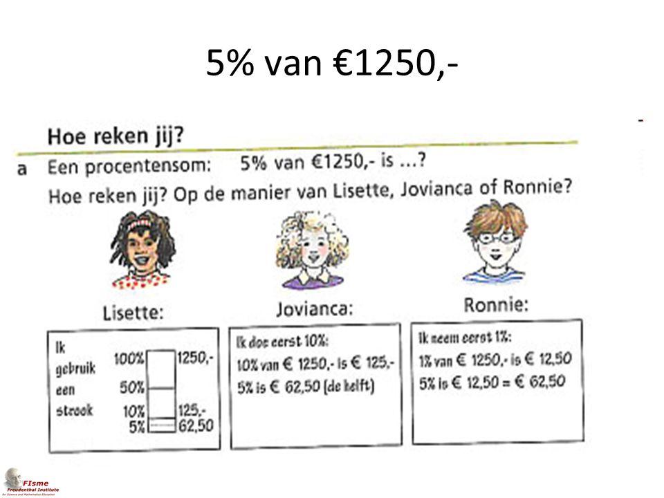 5% van €1250,-