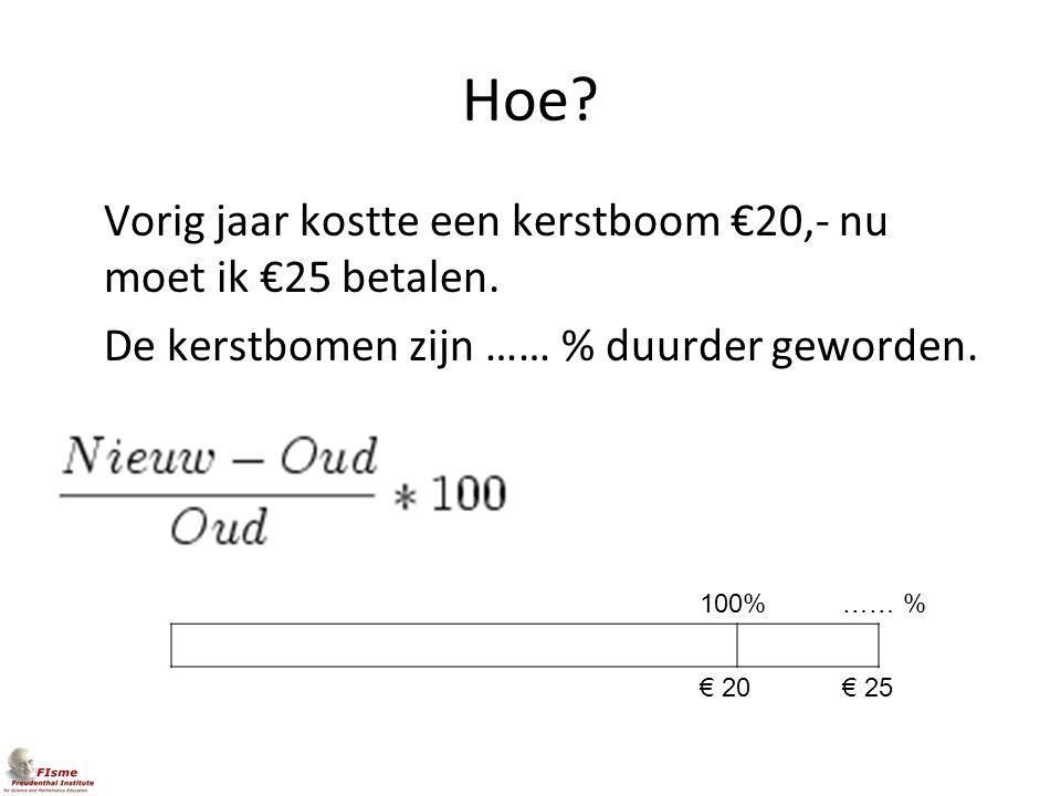 Hoe? Vorig jaar kostte een kerstboom €20,- nu moet ik €25 betalen. De kerstbomen zijn …… % duurder geworden. 100% € 20€ 25 …… %
