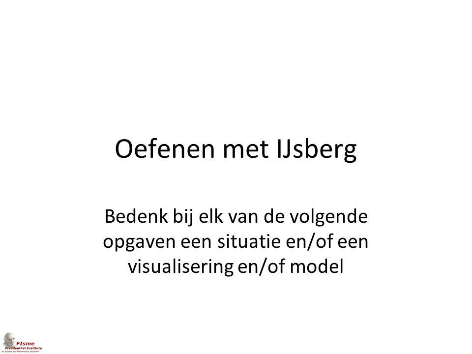 Oefenen met IJsberg Bedenk bij elk van de volgende opgaven een situatie en/of een visualisering en/of model