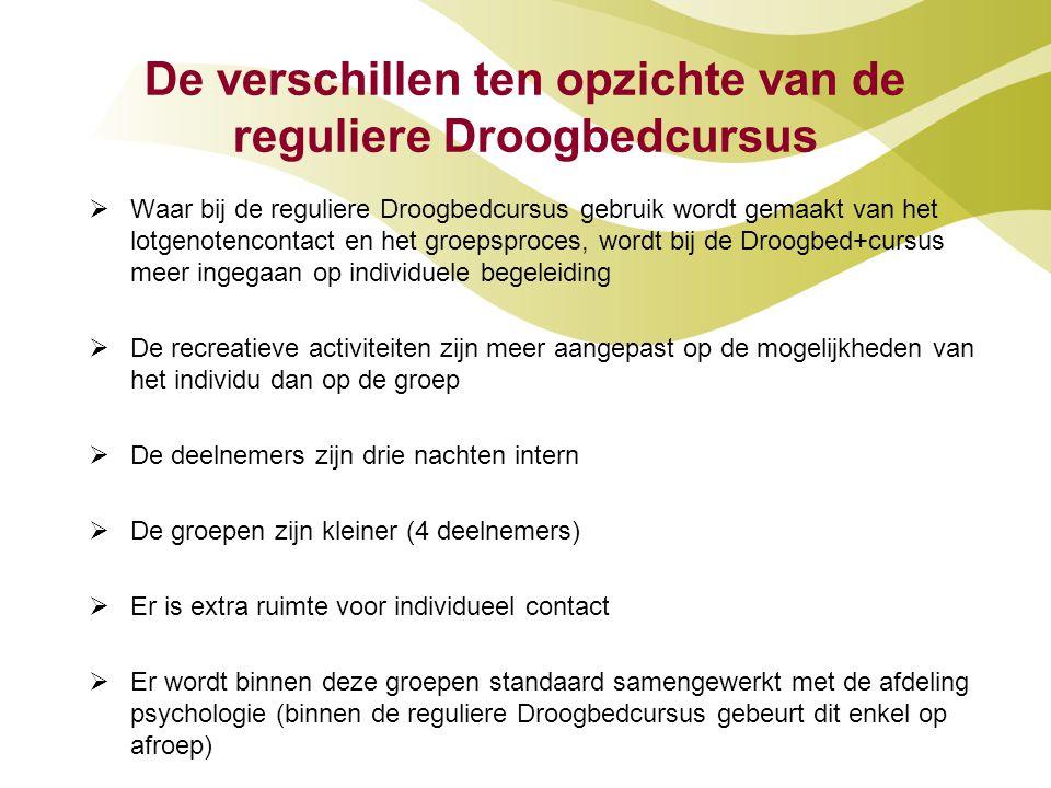 De verschillen ten opzichte van de reguliere Droogbedcursus  Waar bij de reguliere Droogbedcursus gebruik wordt gemaakt van het lotgenotencontact en