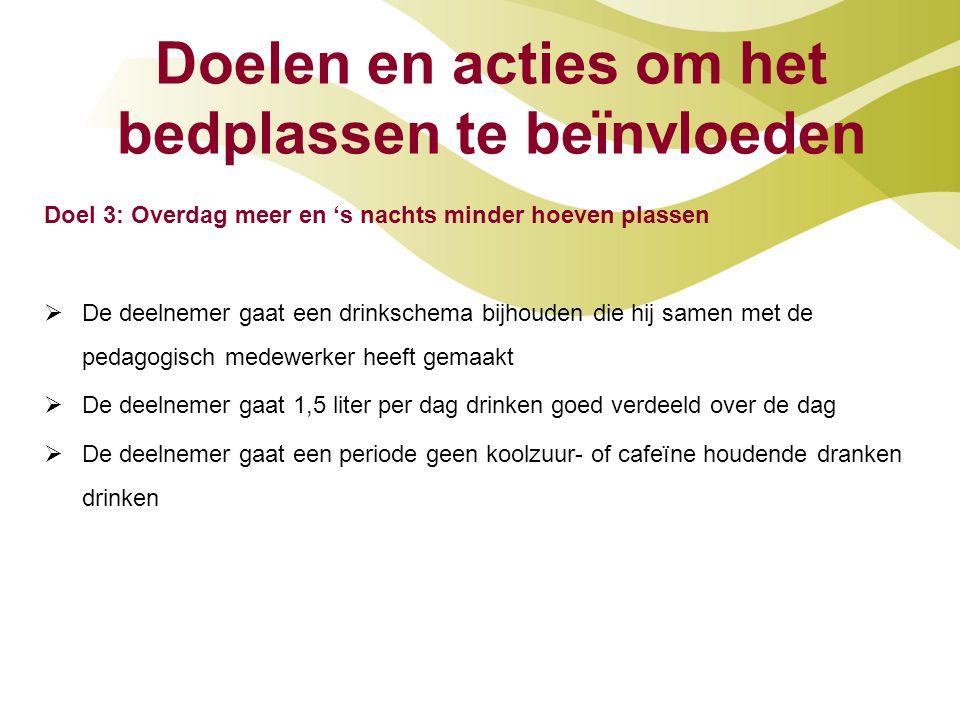 Doelen en acties om het bedplassen te beïnvloeden Doel 3: Overdag meer en 's nachts minder hoeven plassen  De deelnemer gaat een drinkschema bijhoude