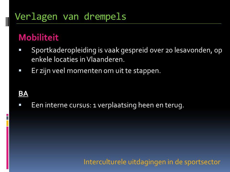 Interculturele uitdagingen in de sportsector Mobiliteit  Sportkaderopleiding is vaak gespreid over 20 lesavonden, op enkele locaties in Vlaanderen.