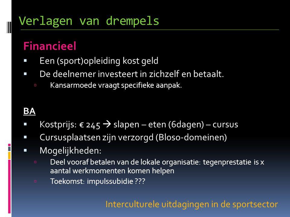 Interculturele uitdagingen in de sportsector Financieel  Een (sport)opleiding kost geld  De deelnemer investeert in zichzelf en betaalt.