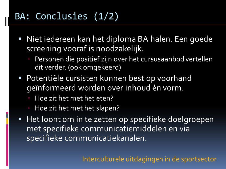 Interculturele uitdagingen in de sportsector BA: Conclusies (1/2)  Niet iedereen kan het diploma BA halen.