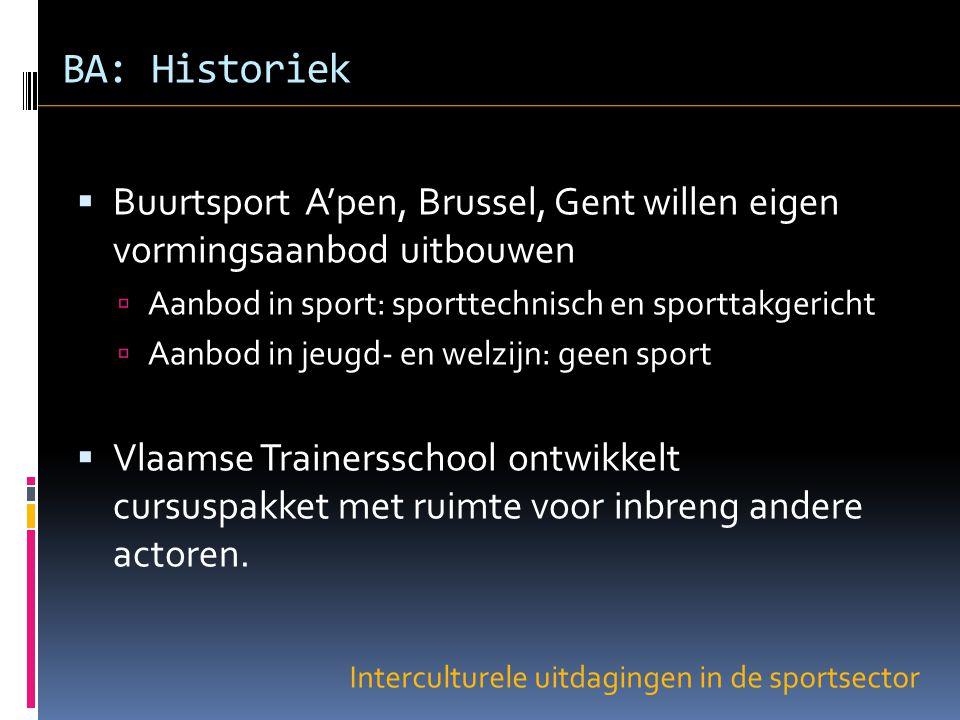 BA: Historiek  Buurtsport A'pen, Brussel, Gent willen eigen vormingsaanbod uitbouwen  Aanbod in sport: sporttechnisch en sporttakgericht  Aanbod in jeugd- en welzijn: geen sport  Vlaamse Trainersschool ontwikkelt cursuspakket met ruimte voor inbreng andere actoren.