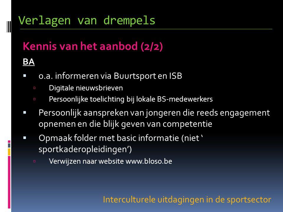 Interculturele uitdagingen in de sportsector Kennis van het aanbod (2/2) BA  o.a.