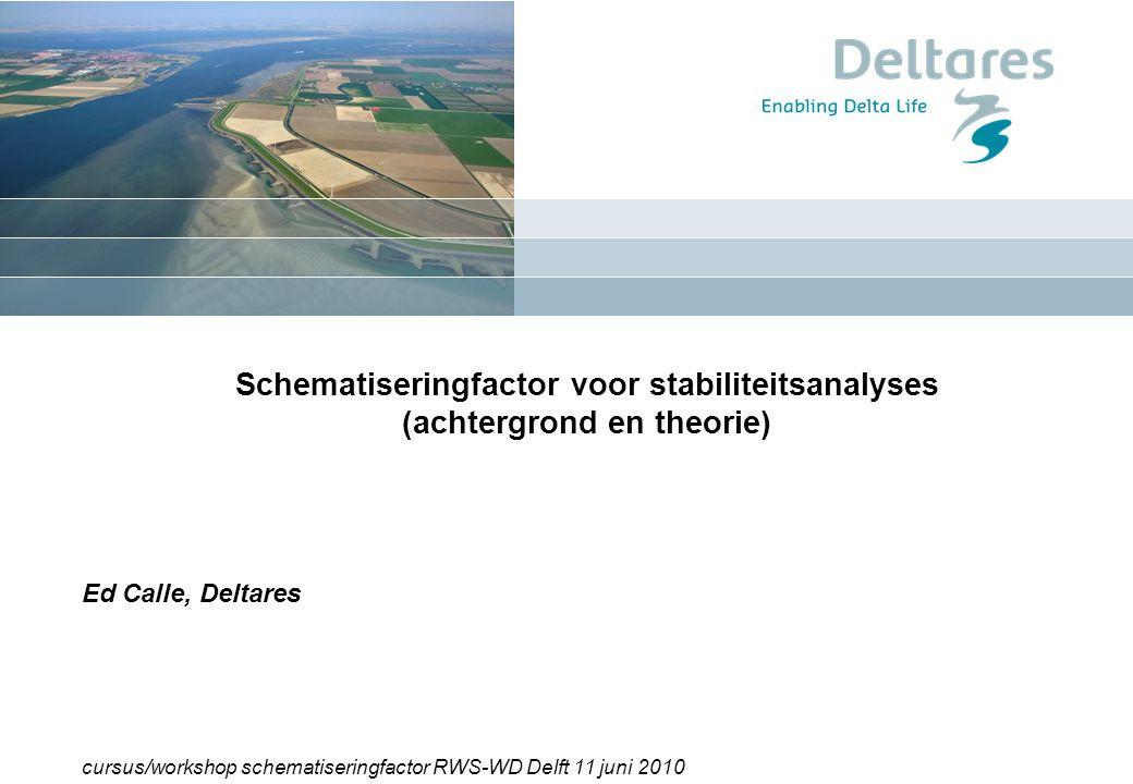 """1 12/07/2014RIMAX Workshop """"Probabilistische Bemessung von Dämmen und Deichen für den Hochwasserschutz"""" 1 Schematiseringfactor voor stabiliteitsanalys"""