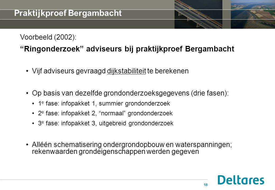 """18 Praktijkproef Bergambacht Voorbeeld (2002): """"Ringonderzoek"""" adviseurs bij praktijkproef Bergambacht Vijf adviseurs gevraagd dijkstabiliteit te bere"""