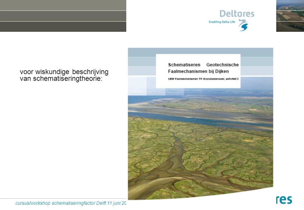 33 cursus/workshop schematiseringfactor Delft 11 juni 2010 voor wiskundige beschrijving van schematiseringtheorie: