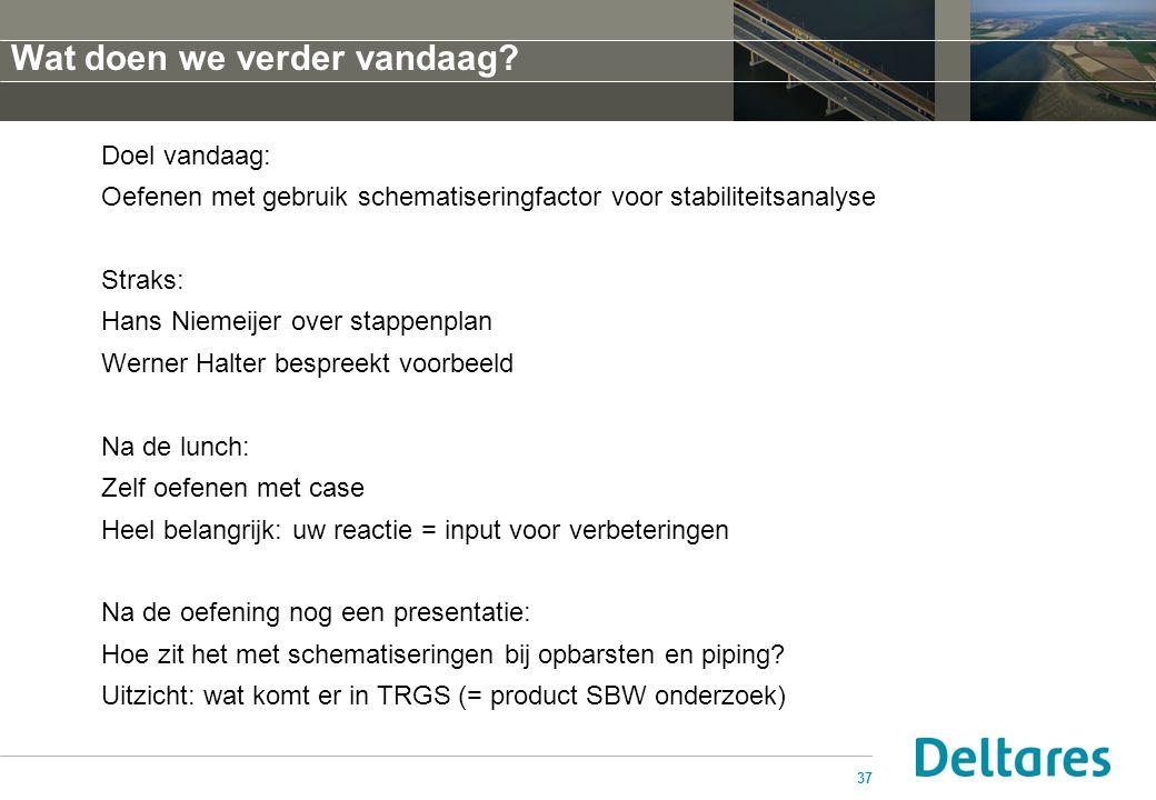 37 Doel vandaag: Oefenen met gebruik schematiseringfactor voor stabiliteitsanalyse Straks: Hans Niemeijer over stappenplan Werner Halter bespreekt voo