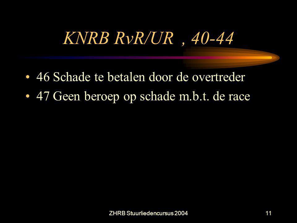 ZHRB Stuurliedencursus 200411 KNRB RvR/UR, 40-44 46 Schade te betalen door de overtreder 47 Geen beroep op schade m.b.t. de race