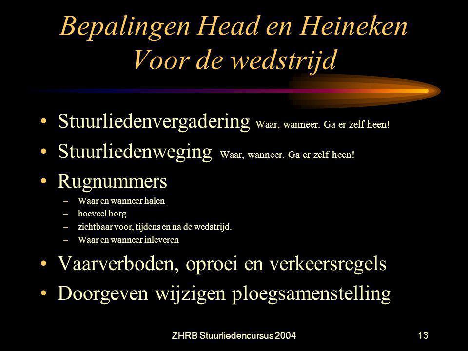 ZHRB Stuurliedencursus 200413 Bepalingen Head en Heineken Voor de wedstrijd Stuurliedenvergadering Waar, wanneer. Ga er zelf heen! Stuurliedenweging W