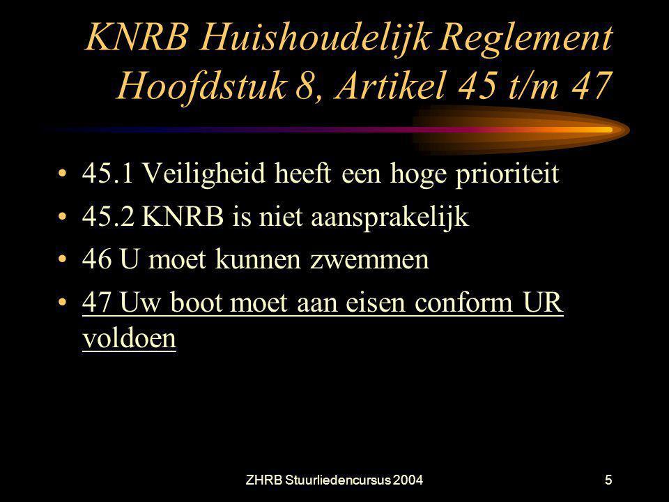 ZHRB Stuurliedencursus 20045 KNRB Huishoudelijk Reglement Hoofdstuk 8, Artikel 45 t/m 47 45.1 Veiligheid heeft een hoge prioriteit 45.2 KNRB is niet a