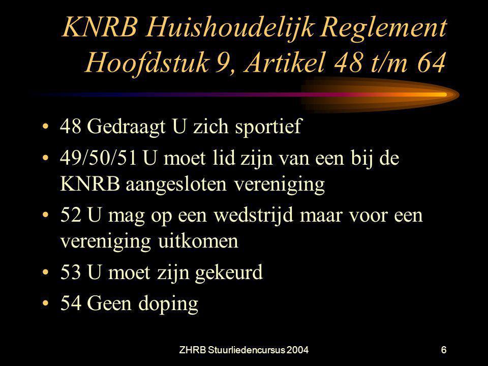 ZHRB Stuurliedencursus 20046 KNRB Huishoudelijk Reglement Hoofdstuk 9, Artikel 48 t/m 64 48 Gedraagt U zich sportief 49/50/51 U moet lid zijn van een