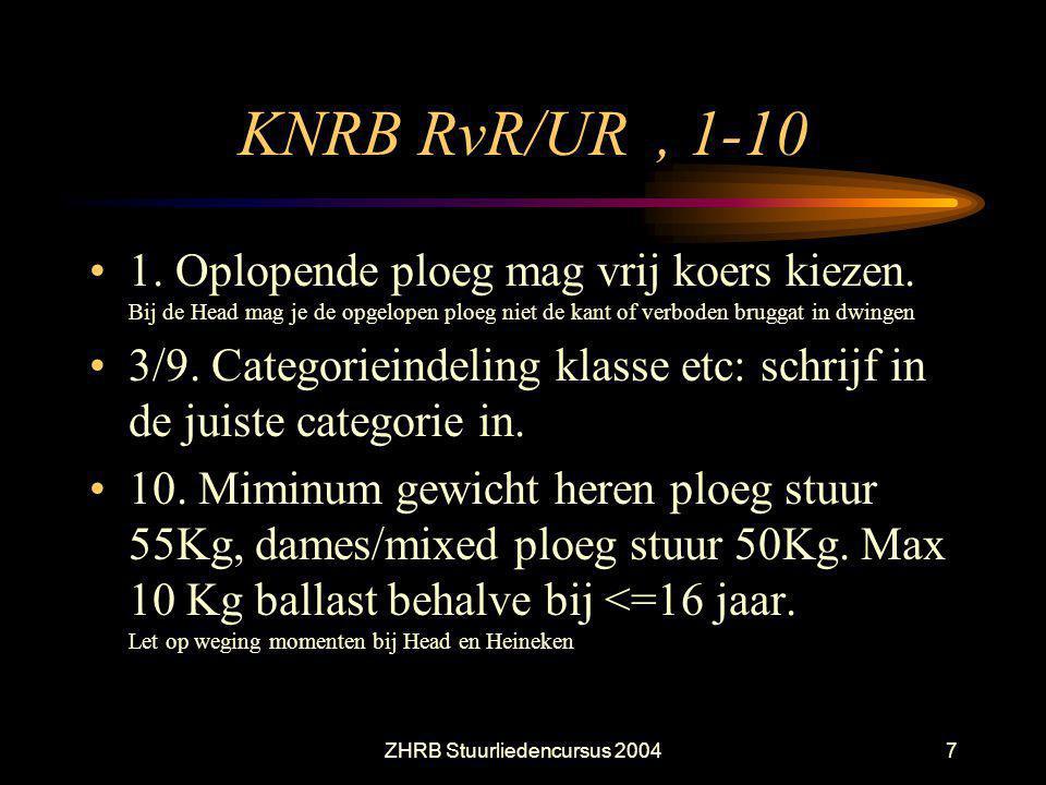 ZHRB Stuurliedencursus 20047 KNRB RvR/UR, 1-10 1. Oplopende ploeg mag vrij koers kiezen. Bij de Head mag je de opgelopen ploeg niet de kant of verbode