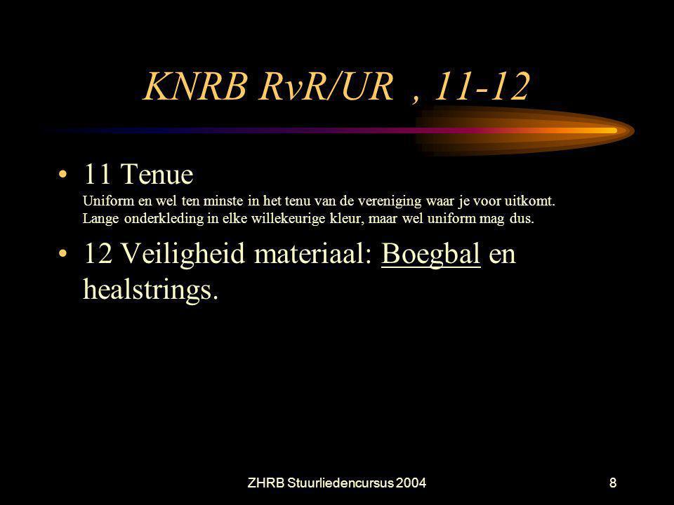 ZHRB Stuurliedencursus 20048 KNRB RvR/UR, 11-12 11 Tenue Uniform en wel ten minste in het tenu van de vereniging waar je voor uitkomt. Lange onderkled