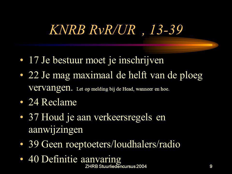 ZHRB Stuurliedencursus 20049 KNRB RvR/UR, 13-39 17 Je bestuur moet je inschrijven 22 Je mag maximaal de helft van de ploeg vervangen. Let op melding b