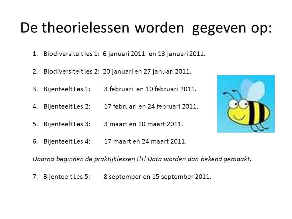 De theorielessen worden gegeven op: 1.Biodiversiteit les 1: 6 januari 2011 en 13 januari 2011. 2.Biodiversiteit les 2: 20 januari en 27 januari 2011.