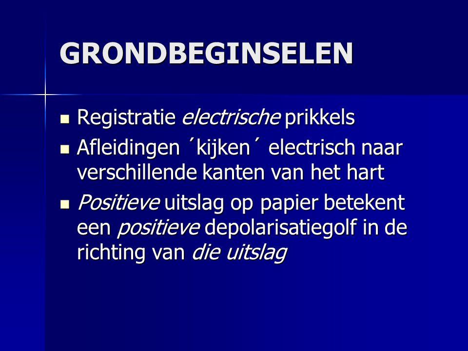 GRONDBEGINSELEN Registratie electrische prikkels Registratie electrische prikkels Afleidingen ´kijken´ electrisch naar verschillende kanten van het ha