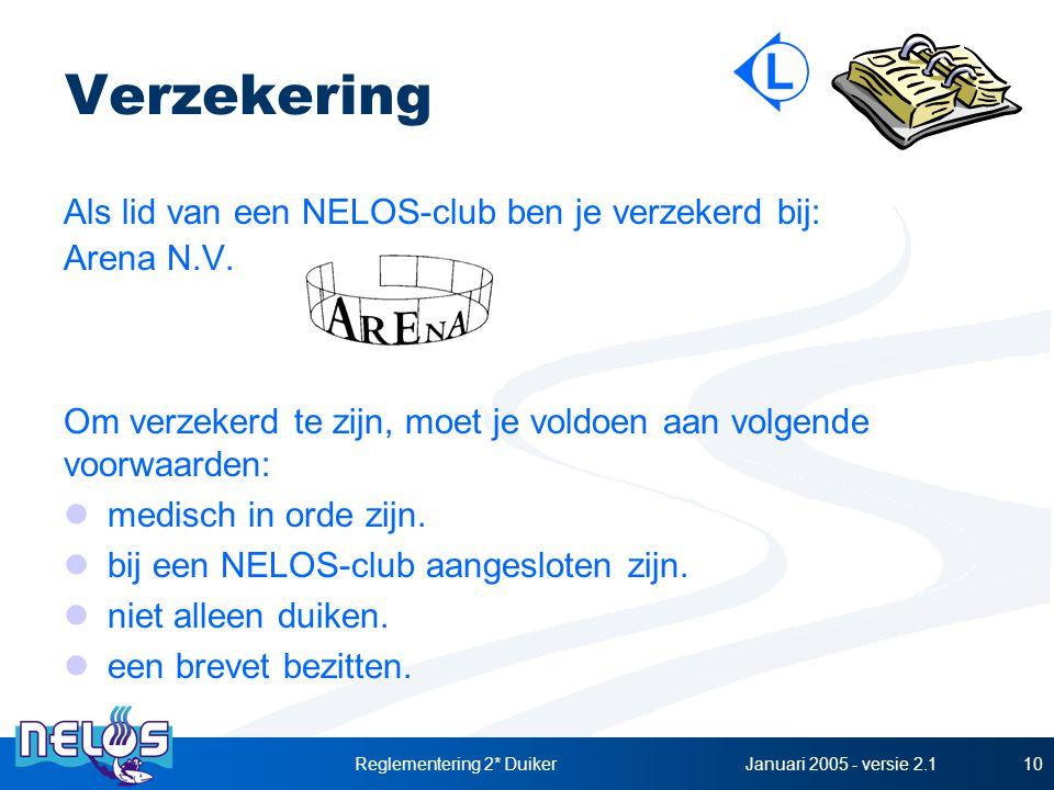 Januari 2005 - versie 2.1Reglementering 2* Duiker10 Verzekering Als lid van een NELOS-club ben je verzekerd bij: Arena N.V. Om verzekerd te zijn, moet
