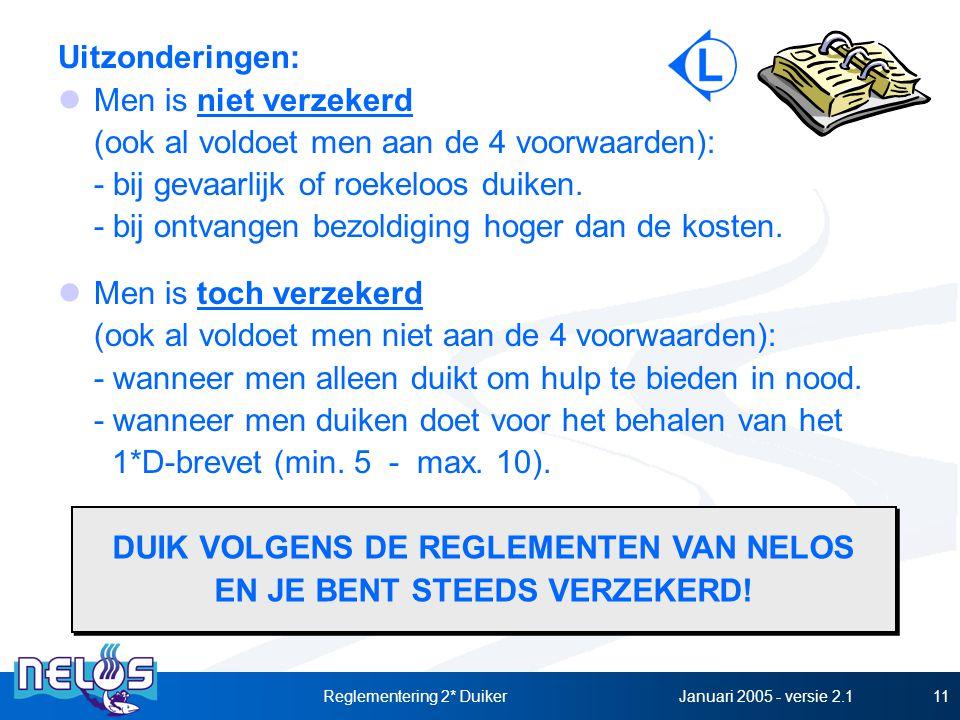 Januari 2005 - versie 2.1Reglementering 2* Duiker11 Uitzonderingen: Men is niet verzekerd (ook al voldoet men aan de 4 voorwaarden): - bij gevaarlijk of roekeloos duiken.