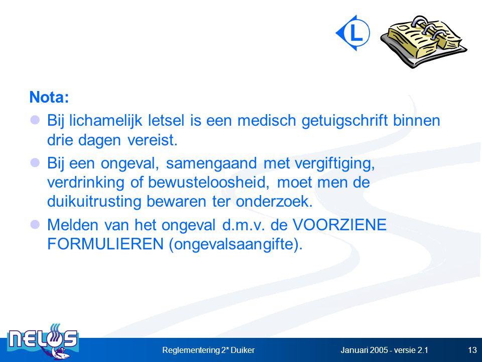 Januari 2005 - versie 2.1Reglementering 2* Duiker13 Nota: Bij lichamelijk letsel is een medisch getuigschrift binnen drie dagen vereist. Bij een ongev