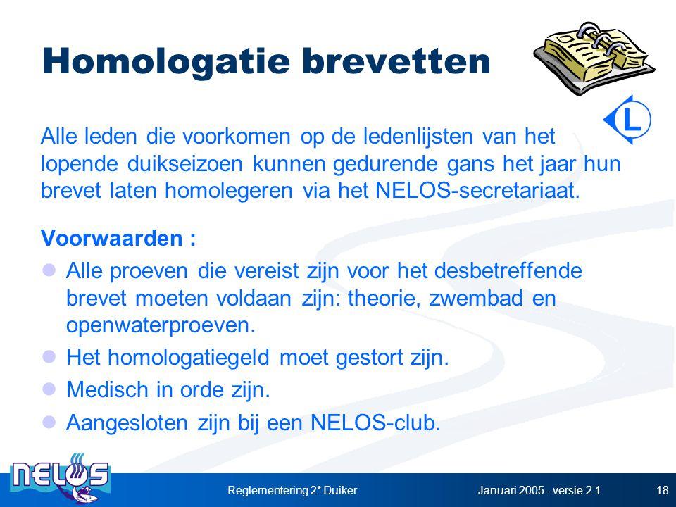 Januari 2005 - versie 2.1Reglementering 2* Duiker18 Homologatie brevetten Alle leden die voorkomen op de ledenlijsten van het lopende duikseizoen kunnen gedurende gans het jaar hun brevet laten homolegeren via het NELOS-secretariaat.