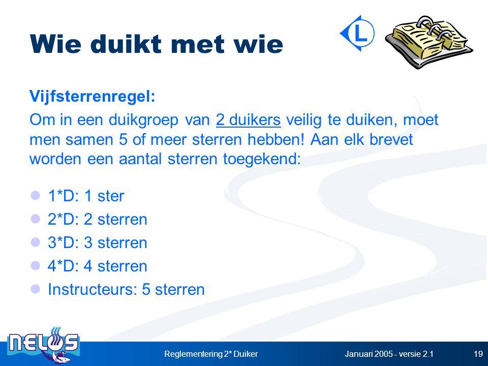 Januari 2005 - versie 2.1Reglementering 2* Duiker19 Wie duikt met wie Vijfsterrenregel: Om in een duikgroep van 2 duikers veilig te duiken, moet men samen 5 of meer sterren hebben.
