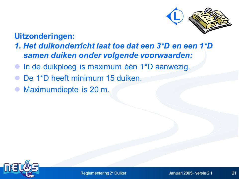 Januari 2005 - versie 2.1Reglementering 2* Duiker21 Uitzonderingen: 1. Het duikonderricht laat toe dat een 3*D en een 1*D samen duiken onder volgende