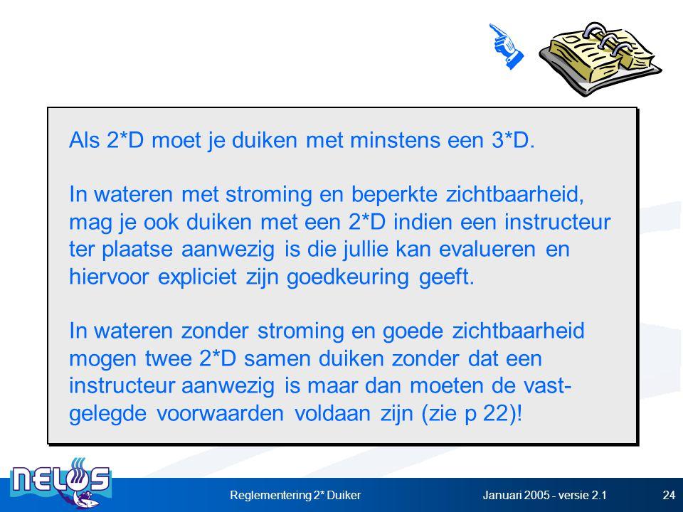 Januari 2005 - versie 2.1Reglementering 2* Duiker24 Als 2*D moet je duiken met minstens een 3*D. In wateren met stroming en beperkte zichtbaarheid, ma