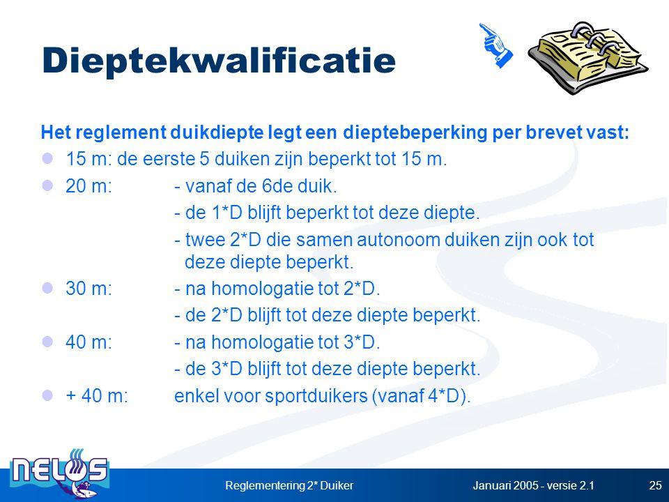 Januari 2005 - versie 2.1Reglementering 2* Duiker25 Dieptekwalificatie Het reglement duikdiepte legt een dieptebeperking per brevet vast: 15 m: de eerste 5 duiken zijn beperkt tot 15 m.