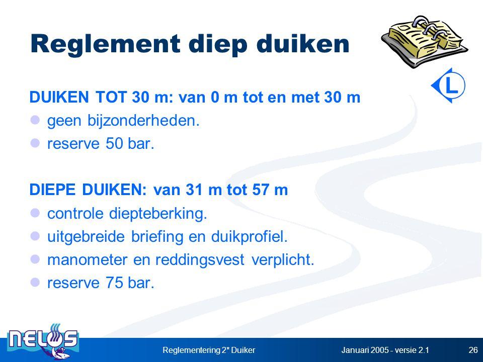 Januari 2005 - versie 2.1Reglementering 2* Duiker26 Reglement diep duiken DUIKEN TOT 30 m: van 0 m tot en met 30 m geen bijzonderheden. reserve 50 bar