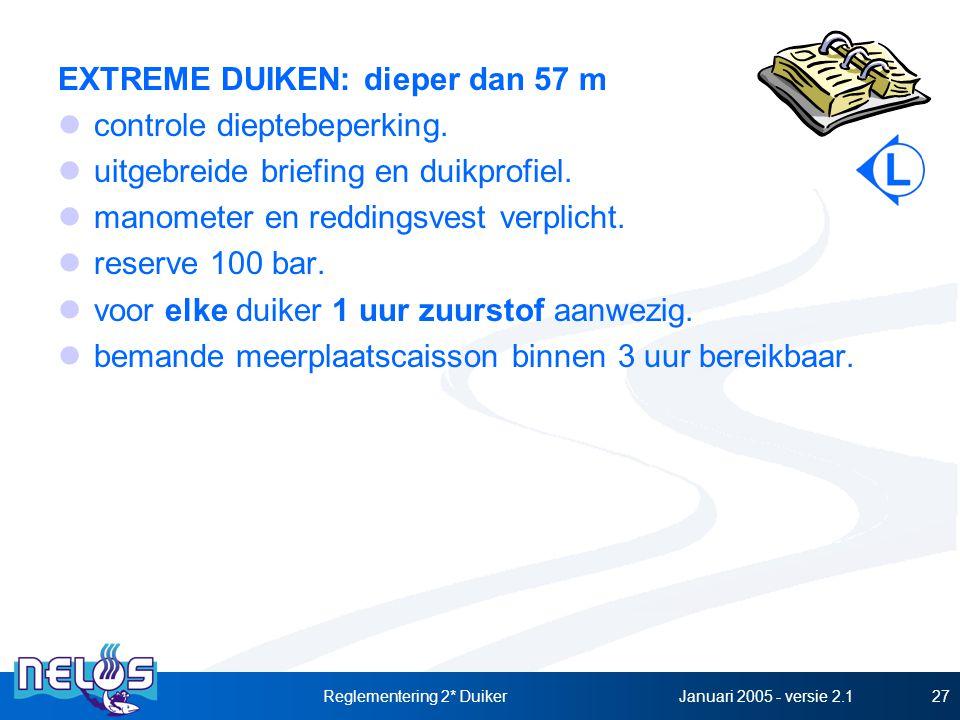 Januari 2005 - versie 2.1Reglementering 2* Duiker27 EXTREME DUIKEN: dieper dan 57 m controle dieptebeperking. uitgebreide briefing en duikprofiel. man