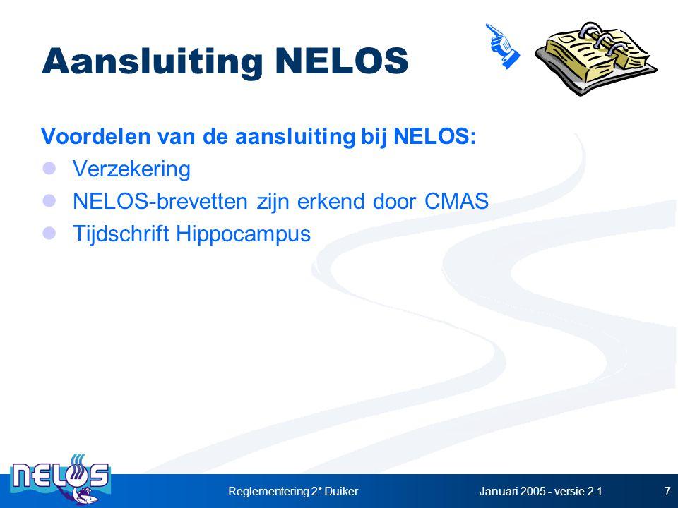 Januari 2005 - versie 2.1Reglementering 2* Duiker7 Aansluiting NELOS Voordelen van de aansluiting bij NELOS: Verzekering NELOS-brevetten zijn erkend door CMAS Tijdschrift Hippocampus