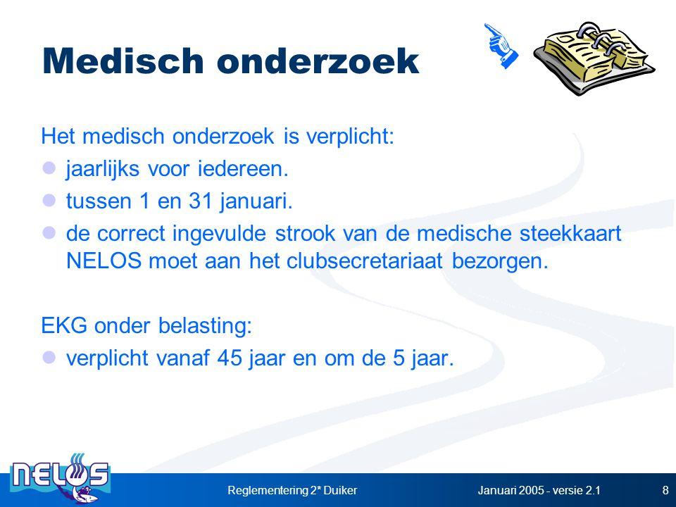 Januari 2005 - versie 2.1Reglementering 2* Duiker8 Medisch onderzoek Het medisch onderzoek is verplicht: jaarlijks voor iedereen. tussen 1 en 31 janua