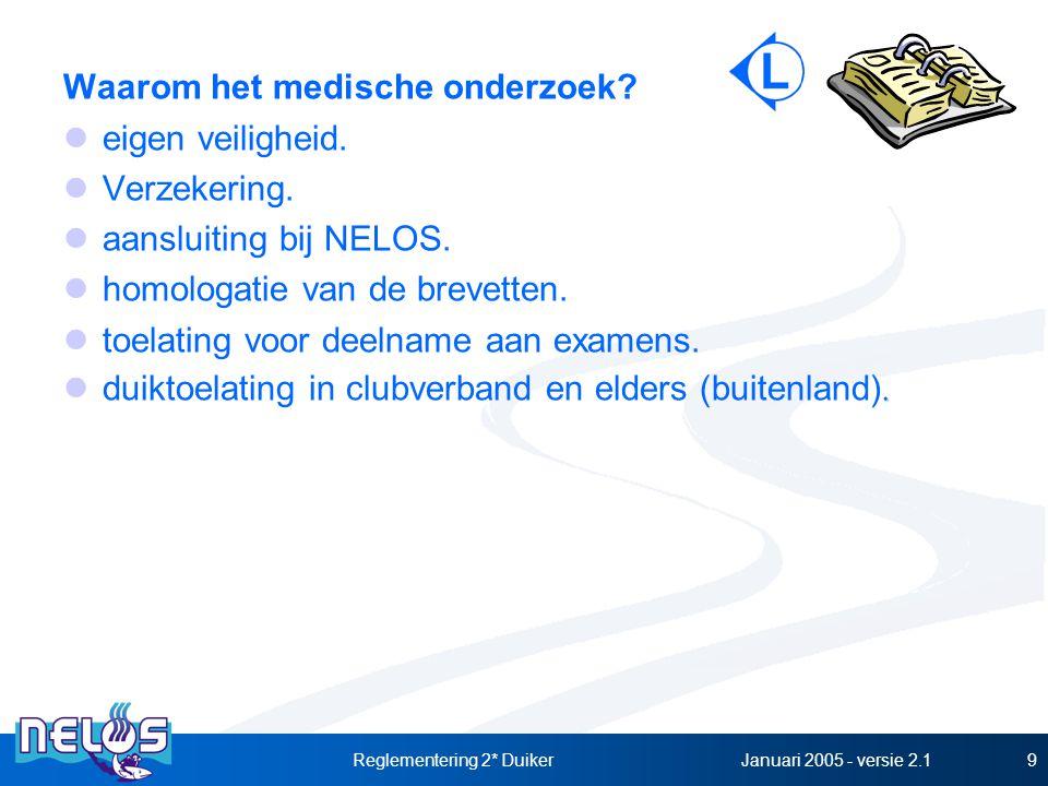 Januari 2005 - versie 2.1Reglementering 2* Duiker9 Waarom het medische onderzoek? eigen veiligheid. Verzekering. aansluiting bij NELOS. homologatie va