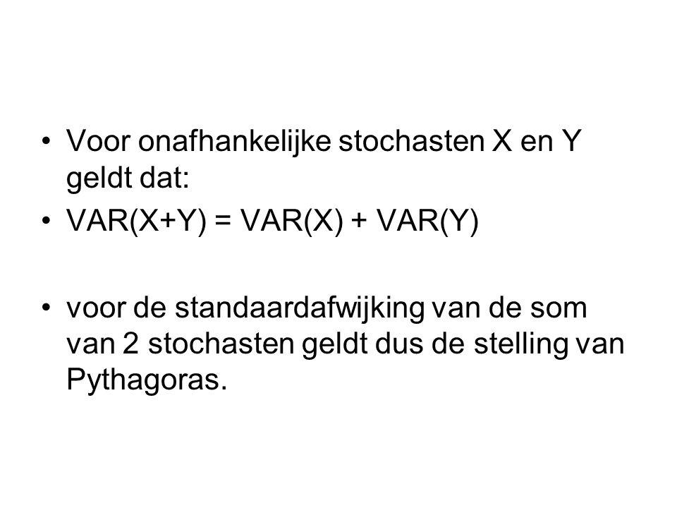 Voor onafhankelijke stochasten X en Y geldt dat: VAR(X+Y) = VAR(X) + VAR(Y) voor de standaardafwijking van de som van 2 stochasten geldt dus de stelli