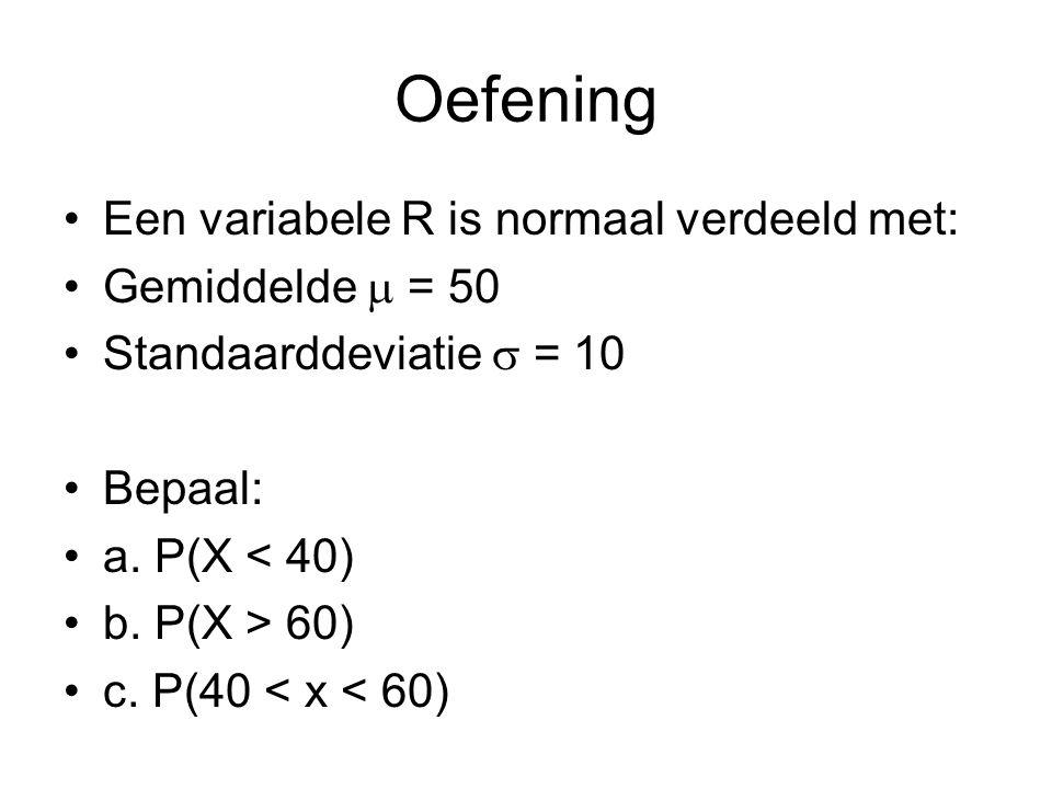 Oefening Een variabele R is normaal verdeeld met: Gemiddelde  = 50 Standaarddeviatie  = 10 Bepaal: a. P(X < 40) b. P(X > 60) c. P(40 < x < 60)
