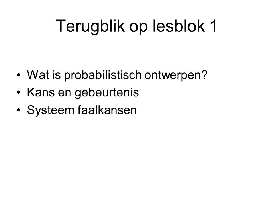 Voorbeeld: gumbelverdeling 050100150200250300350400450500550600 0 1 2 3 4 5 6 7 8 x 10 -3 winddruk (0.5 * rho * U 2 pot ) in N/m 2 kansdichtheid (m 2 /N) jaarmaxima Schiphol 1950-2002 Gumbelverdeling
