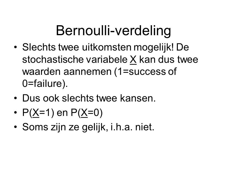 Bernoulli-verdeling Slechts twee uitkomsten mogelijk! De stochastische variabele X kan dus twee waarden aannemen (1=success of 0=failure). Dus ook sle