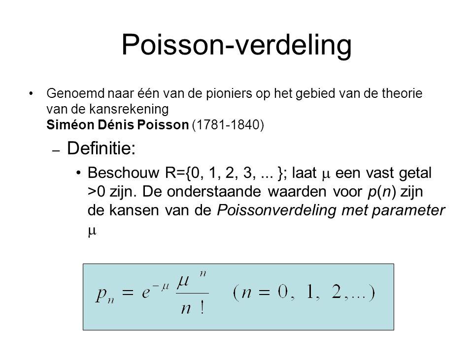 Poisson-verdeling Genoemd naar één van de pioniers op het gebied van de theorie van de kansrekening Siméon Dénis Poisson (1781-1840) – Definitie: Besc